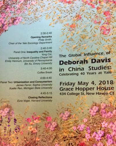 "Program from ""The Global Influence of Deborah Davis in China Studies: Celebrating 40 years at yale"""